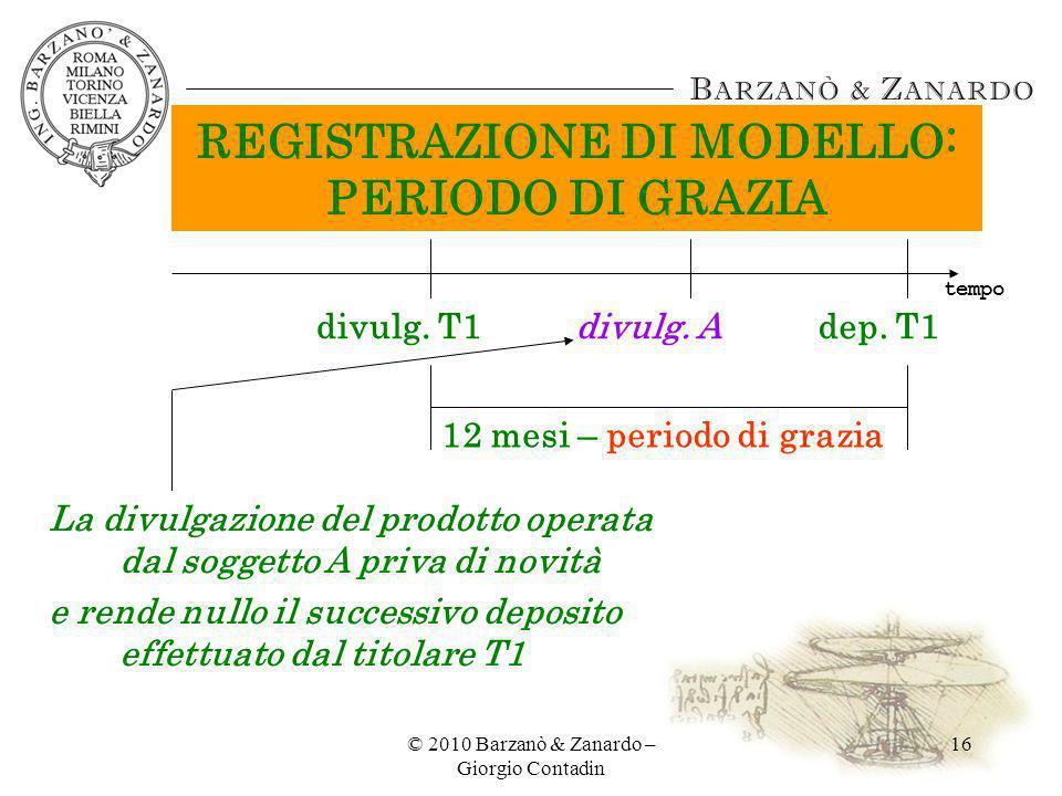 © 2010 Barzanò & Zanardo – Giorgio Contadin 16 REGISTRAZIONE DI MODELLO: PERIODO DI GRAZIA dep. T1 12 mesi – periodo di grazia divulg. T1divulg. A La