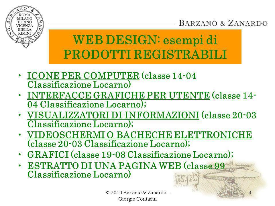 © 2010 Barzanò & Zanardo – Giorgio Contadin 4 WEB DESIGN: esempi di PRODOTTI REGISTRABILI ICONE PER COMPUTER (classe 14-04 Classificazione Locarno) IN