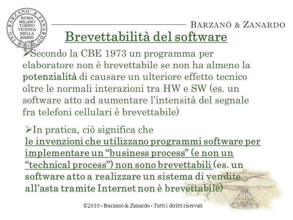 ©2010 - Barzanò & Zanardo - Tutti i diritti riservati Brevettabilità del software Quindi, le invenzioni CIIs brevettabili riguardano esclusivamente soluzioni tecniche nuove Di conseguenza, il software che non risolve un problema tecnico non è brevettabile in Europa Situazione in Europa (CBE 1973)