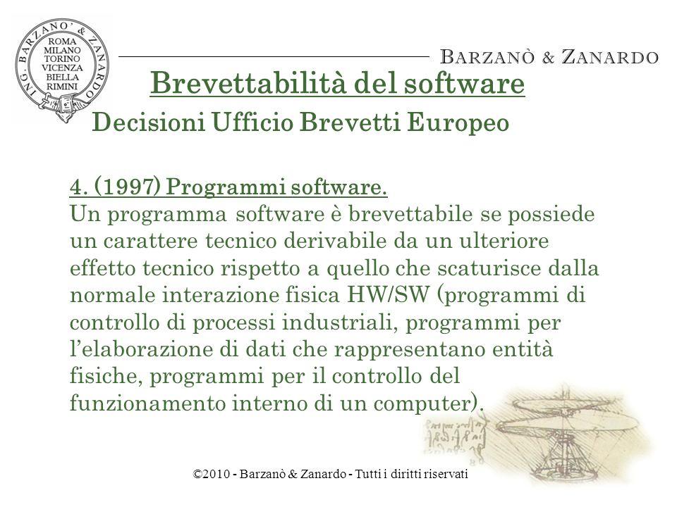 ©2010 - Barzanò & Zanardo - Tutti i diritti riservati Brevettabilità del software 3.