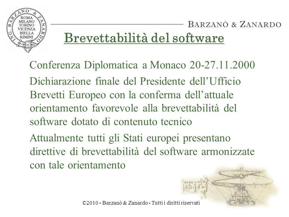 ©2010 - Barzanò & Zanardo - Tutti i diritti riservati Brevettabilità del software 4.