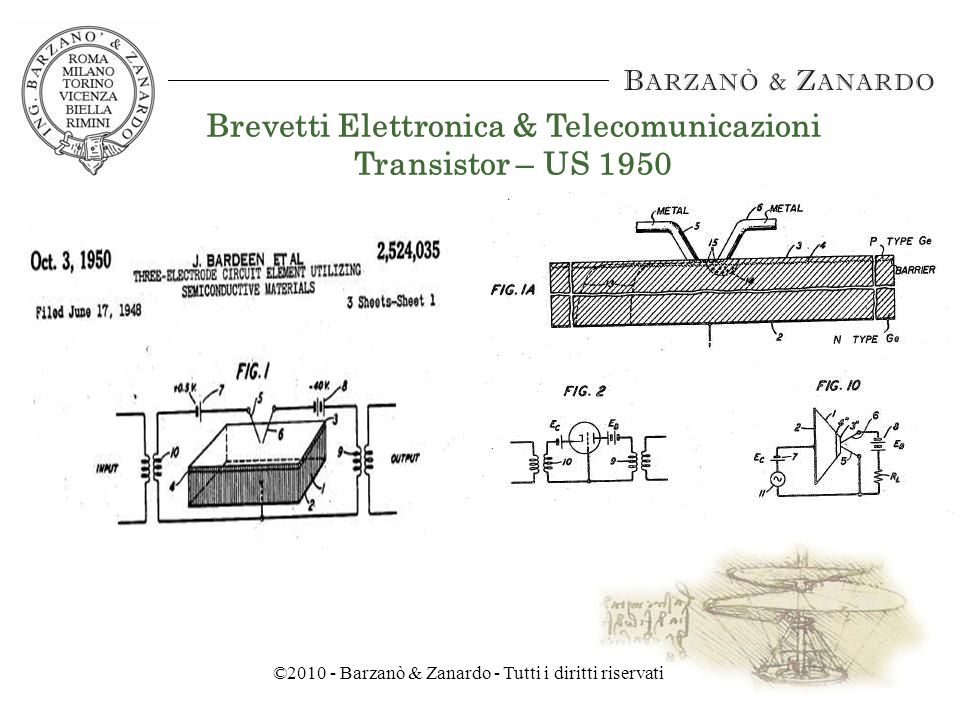 ©2010 - Barzanò & Zanardo - Tutti i diritti riservati Brevetti Elettronica & Telecomunicazioni Sistema di radiodiffusione – US 1927
