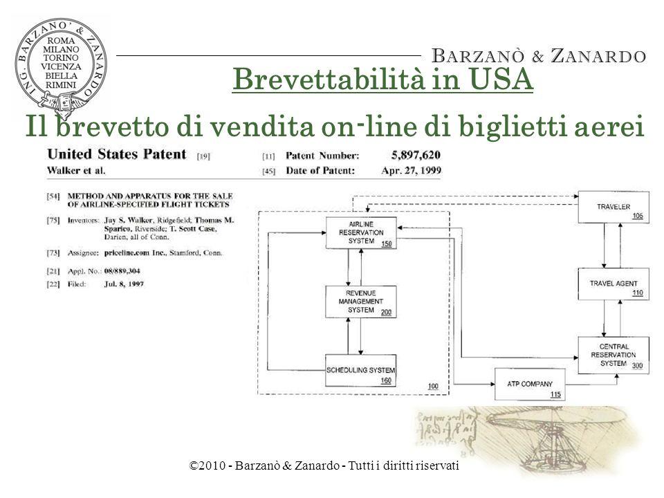 ©2010 - Barzanò & Zanardo - Tutti i diritti riservati Brevettabilità in USA Il brevetto sulla gestione dinamica dellequilibrio di mercato