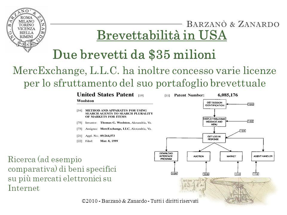 ©2010 - Barzanò & Zanardo - Tutti i diritti riservati Brevettabilità in USA Due brevetti da $35 milioni MercExchange, L.L.C.