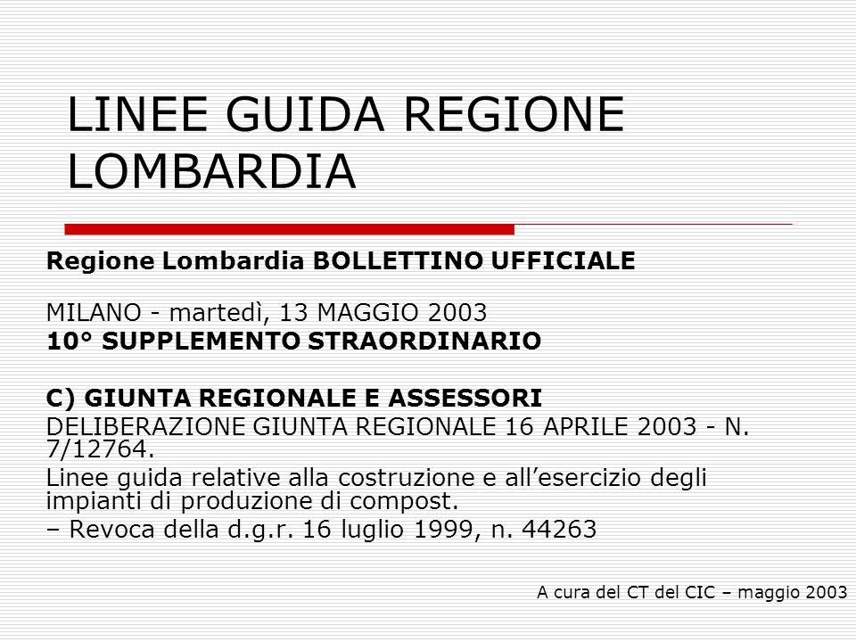 A cura del CT del CIC – maggio 2003 LINEE GUIDA REGIONE LOMBARDIA Regione Lombardia BOLLETTINO UFFICIALE MILANO - martedì, 13 MAGGIO 2003 10° SUPPLEME