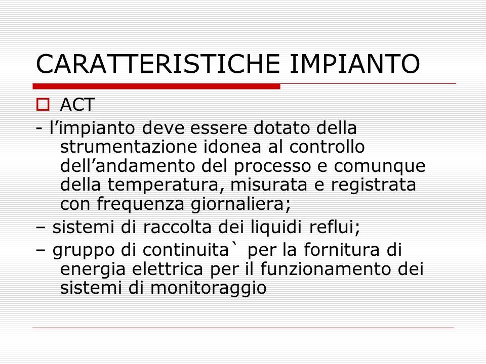 CARATTERISTICHE IMPIANTO ACT - limpianto deve essere dotato della strumentazione idonea al controllo dellandamento del processo e comunque della tempe