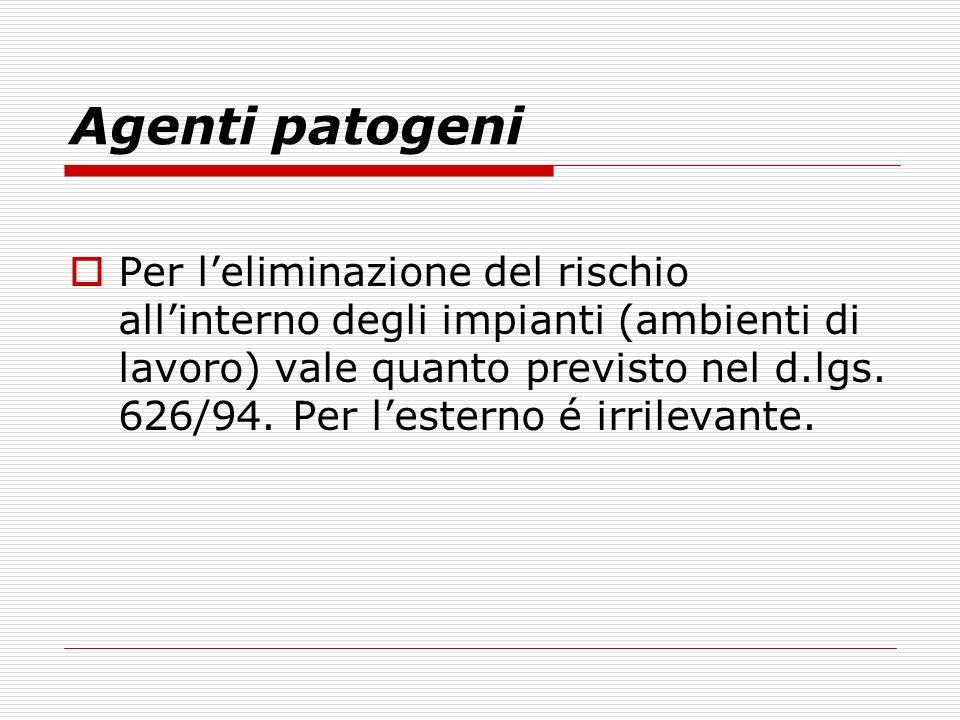 Agenti patogeni Per leliminazione del rischio allinterno degli impianti (ambienti di lavoro) vale quanto previsto nel d.lgs. 626/94. Per lesterno é ir