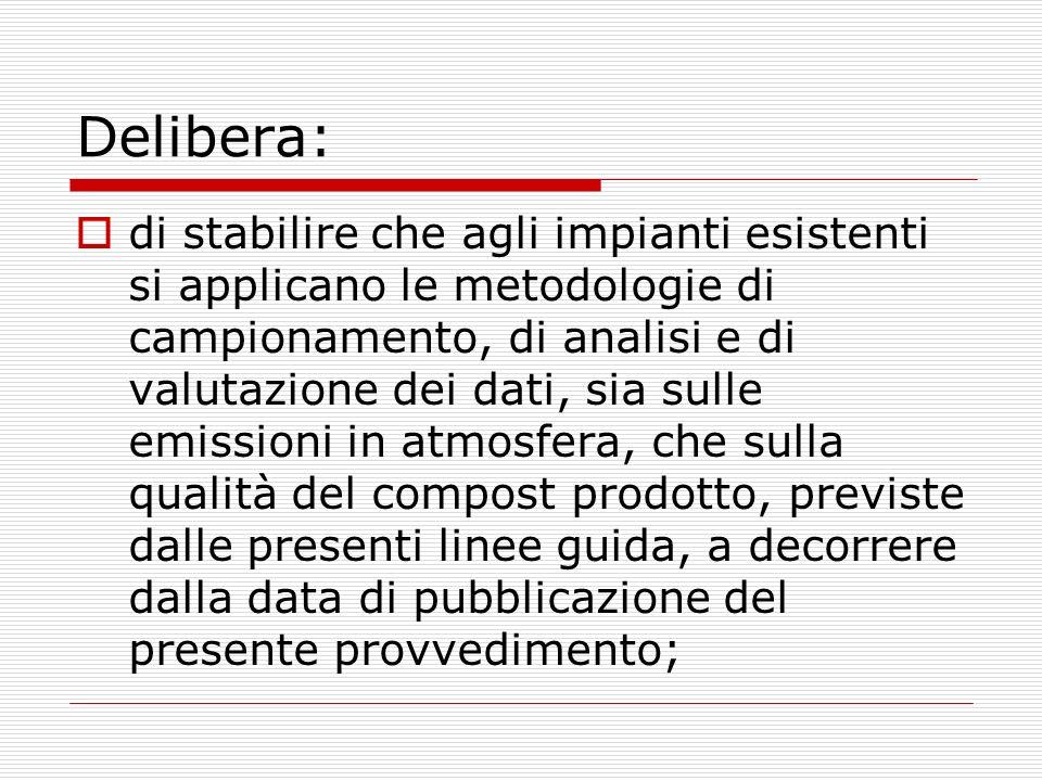 Delibera: di stabilire che agli impianti esistenti si applicano le metodologie di campionamento, di analisi e di valutazione dei dati, sia sulle emiss