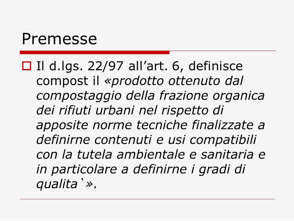 Premesse Il d.lgs. 22/97 allart. 6, definisce compost il «prodotto ottenuto dal compostaggio della frazione organica dei rifiuti urbani nel rispetto d