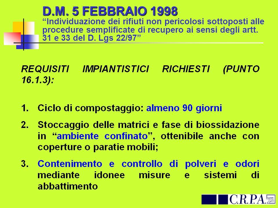 D.M. 5 FEBBRAIO 1998 D.M. 5 FEBBRAIO 1998 Individuazione dei rifiuti non pericolosi sottoposti alle procedure semplificate di recupero ai sensi degli