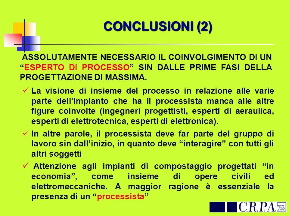 CONCLUSIONI (2) ASSOLUTAMENTE NECESSARIO IL COINVOLGIMENTO DI UNESPERTO DI PROCESSO SIN DALLE PRIME FASI DELLA PROGETTAZIONE DI MASSIMA. La visione di