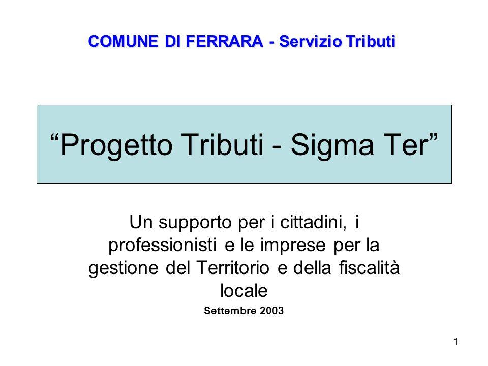 1 Progetto Tributi - Sigma Ter Un supporto per i cittadini, i professionisti e le imprese per la gestione del Territorio e della fiscalità locale Settembre 2003 COMUNE DI FERRARA - Servizio Tributi