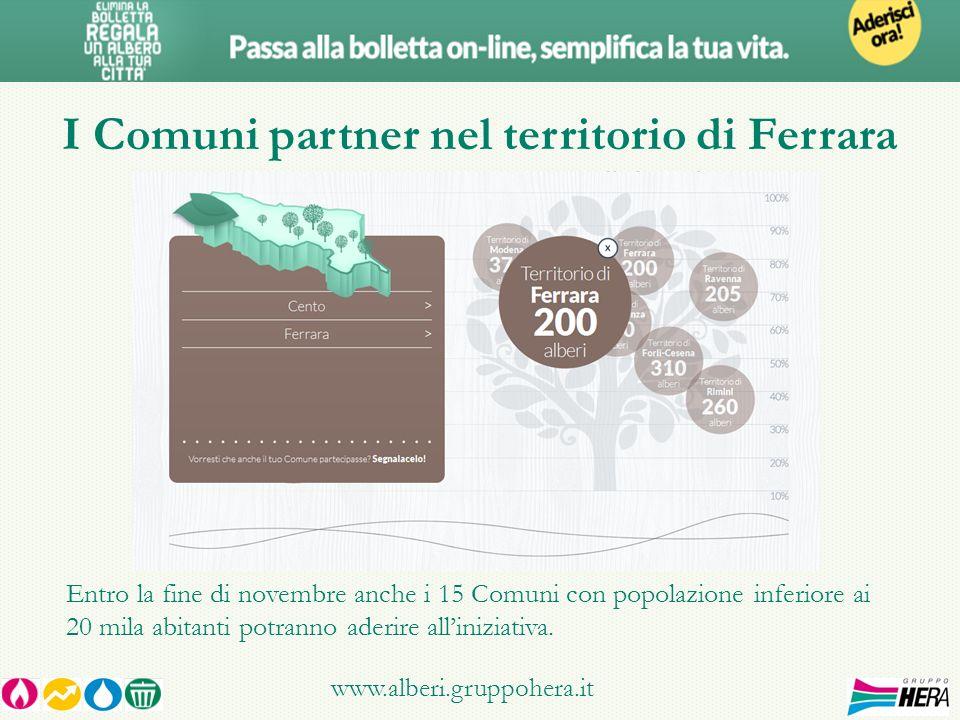 I Comuni partner nel territorio di Ferrara www.alberi.gruppohera.it Entro la fine di novembre anche i 15 Comuni con popolazione inferiore ai 20 mila abitanti potranno aderire alliniziativa.