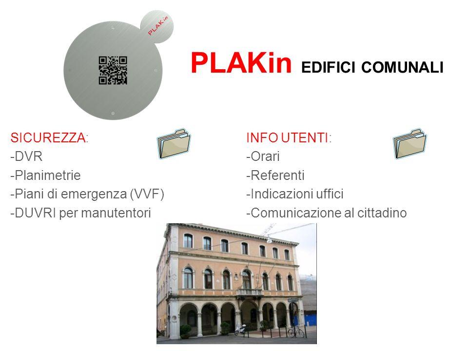 PLAKin EDIFICI COMUNALI SICUREZZA: -DVR -Planimetrie -Piani di emergenza (VVF) -DUVRI per manutentori INFO UTENTI: -Orari -Referenti -Indicazioni uffi