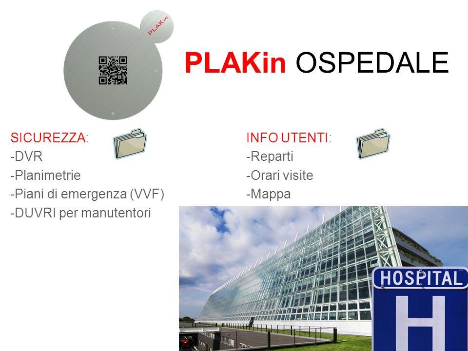 PLAKin OSPEDALE SICUREZZA: -DVR -Planimetrie -Piani di emergenza (VVF) -DUVRI per manutentori INFO UTENTI: -Reparti -Orari visite -Mappa