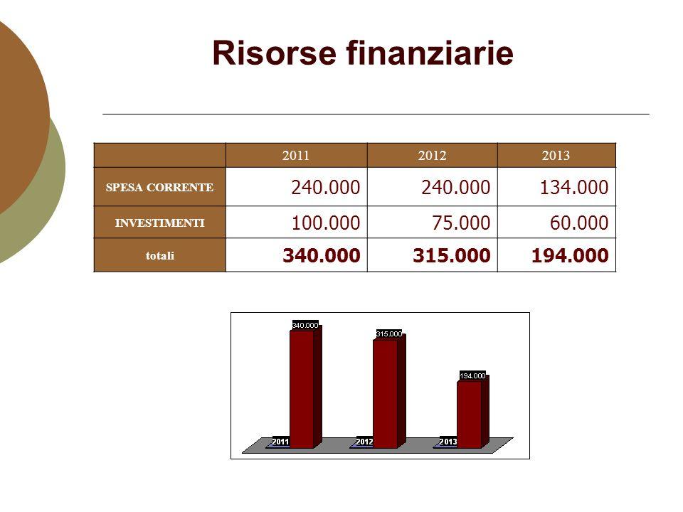 Risorse finanziarie 201120122013 SPESA CORRENTE 240.000 134.000 INVESTIMENTI 100.00075.00060.000 totali 340.000315.000194.000