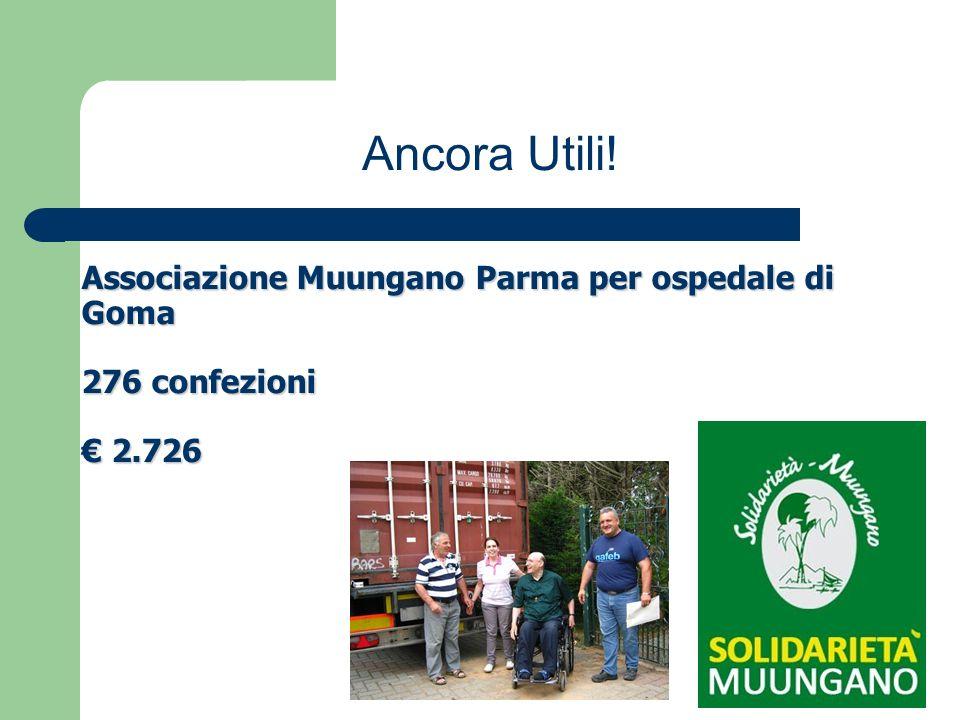 Associazione Muungano Parma per ospedale di Goma 276 confezioni 2.726 Ancora Utili!