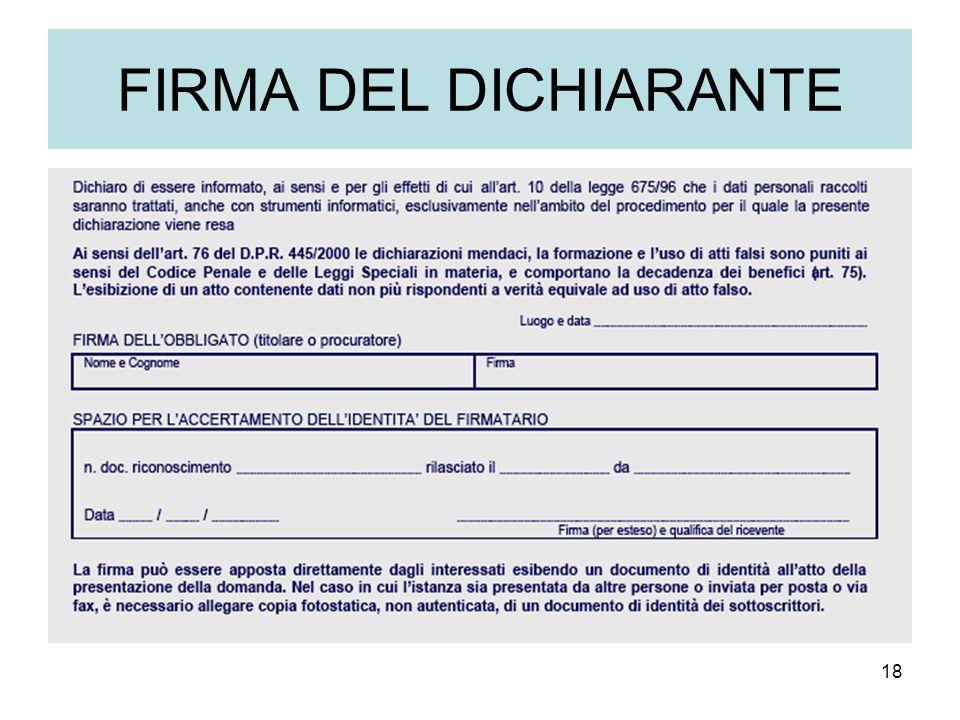 18 FIRMA DEL DICHIARANTE