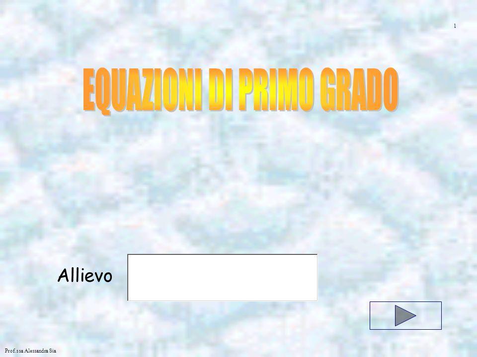 Prof.ssa Alessandra Sia EQUAZIONE INTERA FRATTA LETTERALE Una equazione è intera se le variabili non compaiono mai al denominatore Unequazione letterale è una equazione che oltre lincognita compaiono anche altre lettere Una equazione è fratta se le variabili compaiono anche al denominatore