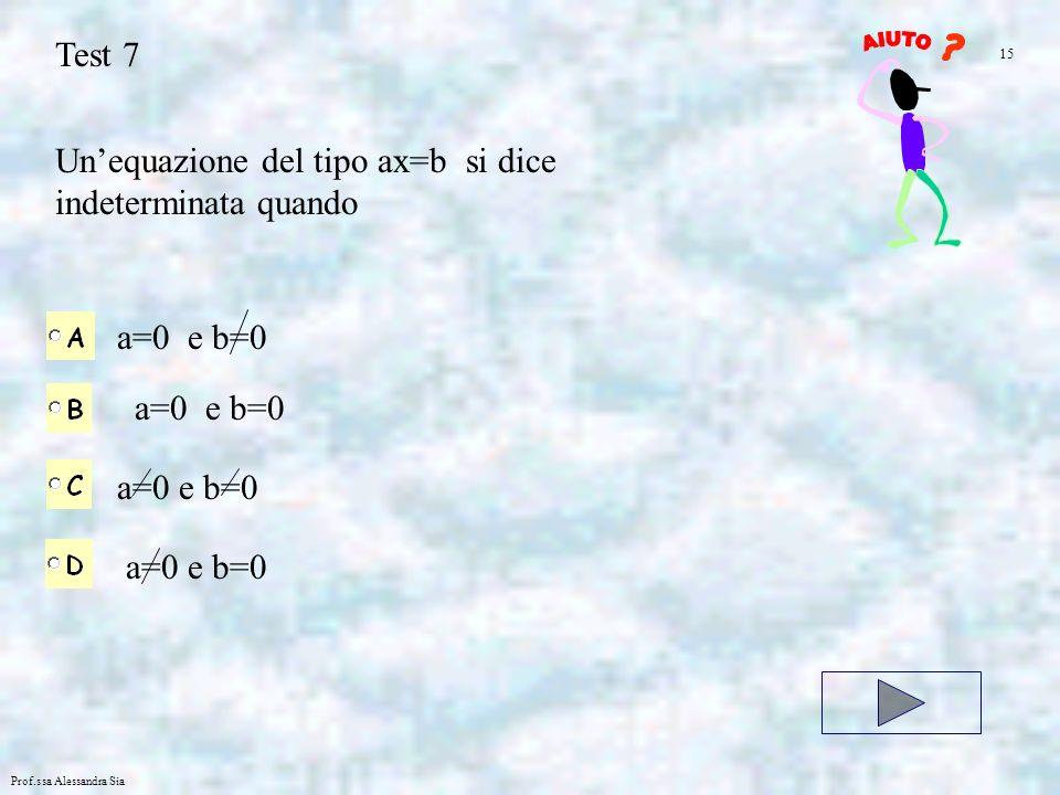 Prof.ssa Alessandra Sia Test 7 Unequazione del tipo ax=b si dice indeterminata quando a=0 e b=0 15