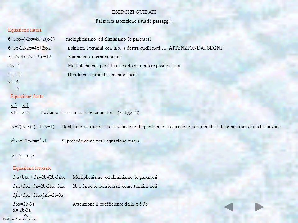 Prof.ssa Alessandra Sia Per verificare che un numero è radice di una equazione devi sostituire al posto della variabile (x) il numero dato e verificare che ci sia unuguaglianza osserva…….