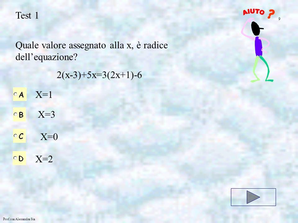 Prof.ssa Alessandra Sia Test 1 Quale valore assegnato alla x, è radice dellequazione? 2(x-3)+5x=3(2x+1)-6 X=1 X=3 X=0 X=2 9