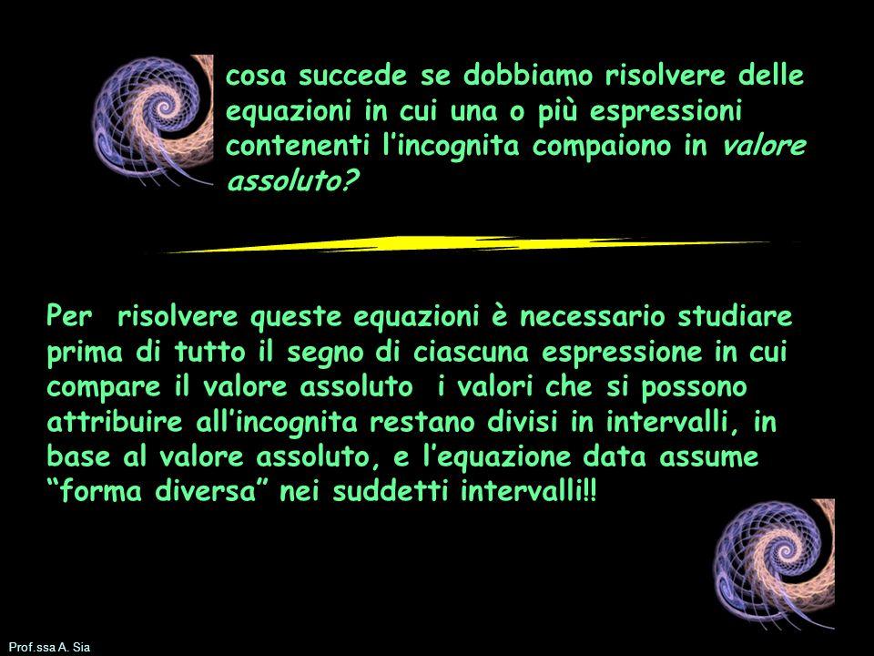 Prof.ssa A.Sia Esempio equazione con valore assoluto: studiamo lespressione con il v.a.