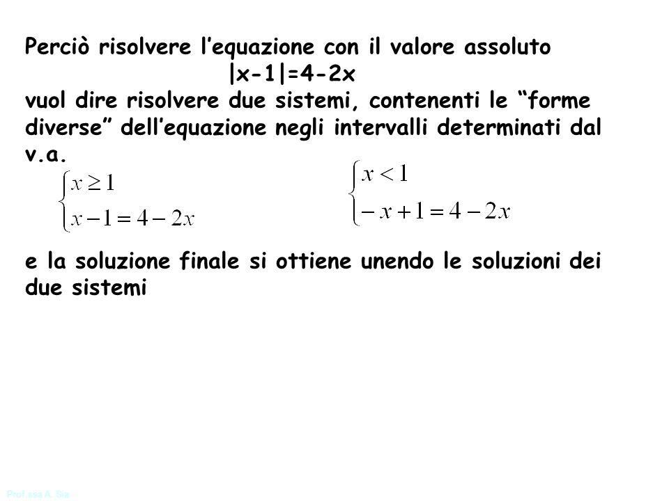 Prof.ssa A. Sia Perciò risolvere lequazione con il valore assoluto |x-1|=4-2x vuol dire risolvere due sistemi, contenenti le forme diverse dellequazio