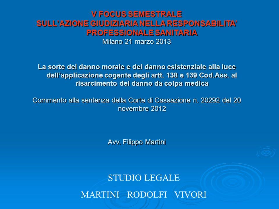 STUDIO LEGALE MARTINI RODOLFI VIVORI V FOCUS SEMESTRALE SULLAZIONE GIUDIZIARIA NELLA RESPONSABILITA PROFESSIONALE SANITARIA Milano 21 marzo 2013 La so