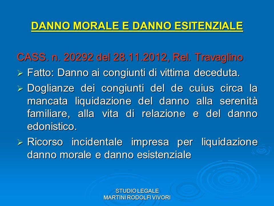 STUDIO LEGALE MARTINI RODOLFI VIVORI DANNO MORALE E DANNO ESITENZIALE CASS. n. 20292 del 28.11.2012, Rel. Travaglino Fatto: Danno ai congiunti di vitt