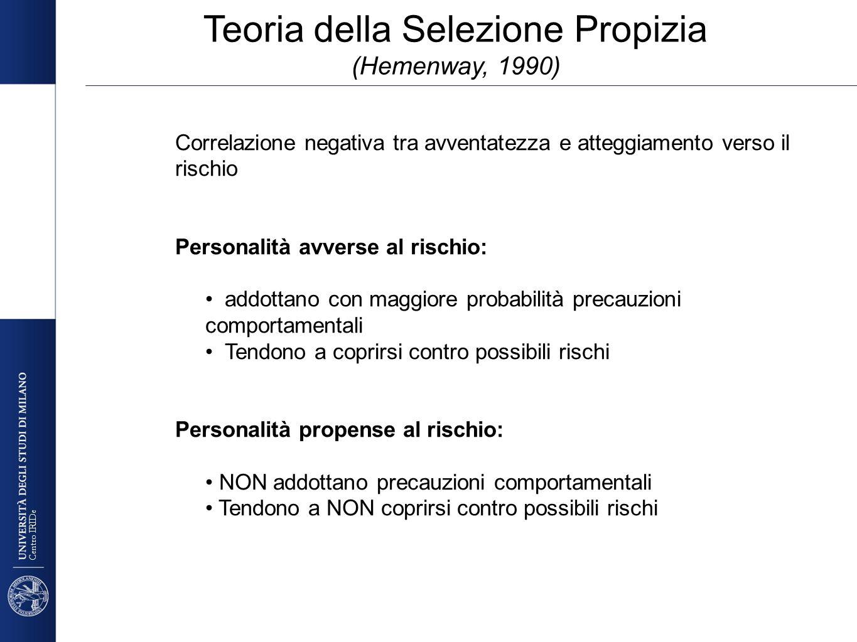 Centro IRIDe Teoria della Selezione Propizia (Hemenway, 1990) Correlazione negativa tra avventatezza e atteggiamento verso il rischio Personalità avve