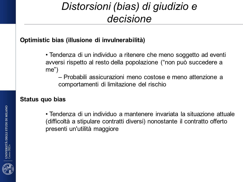 Centro IRIDe Optimistic bias (illusione di invulnerabilità) Tendenza di un individuo a ritenere che meno soggetto ad eventi avversi rispetto al resto