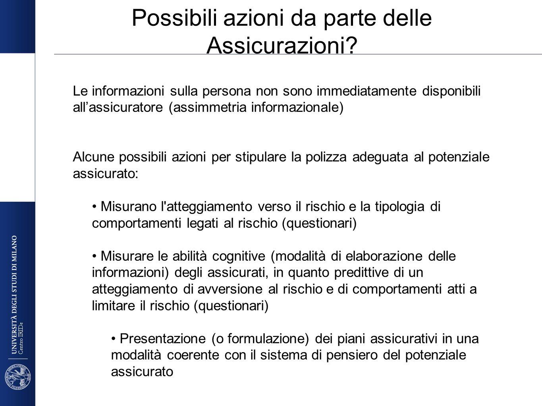 Centro IRIDe Possibili azioni da parte delle Assicurazioni? Le informazioni sulla persona non sono immediatamente disponibili allassicuratore (assimme
