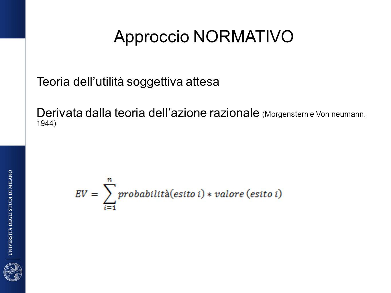 Approccio NORMATIVO Teoria dellutilità soggettiva attesa Derivata dalla teoria dellazione razionale (Morgenstern e Von neumann, 1944)