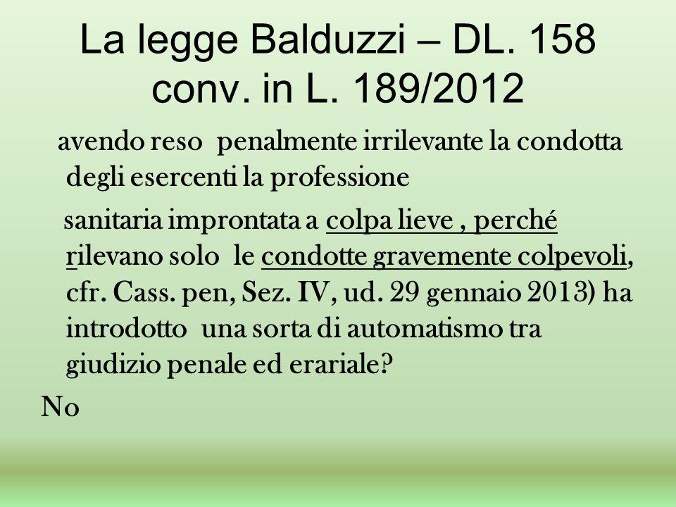 La legge Balduzzi – DL. 158 conv. in L. 189/2012 avendo reso penalmente irrilevante la condotta degli esercenti la professione sanitaria improntata a