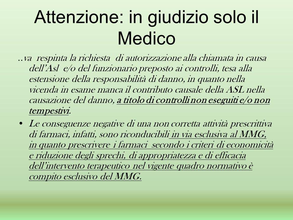 Attenzione: in giudizio solo il Medico.. va respinta la richiesta di autorizzazione alla chiamata in causa dellAsl e/o del funzionario preposto ai con