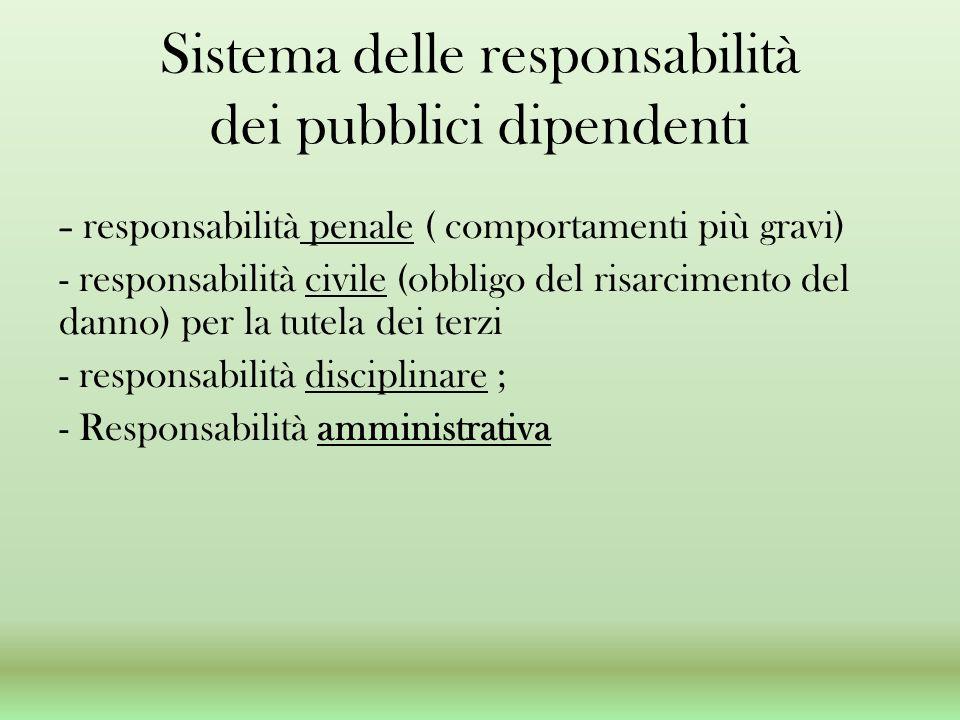 Sistema delle responsabilità dei pubblici dipendenti - responsabilità penale ( comportamenti più gravi) - responsabilità civile (obbligo del risarcimento del danno) per la tutela dei terzi - responsabilità disciplinare ; - Responsabilità amministrativa