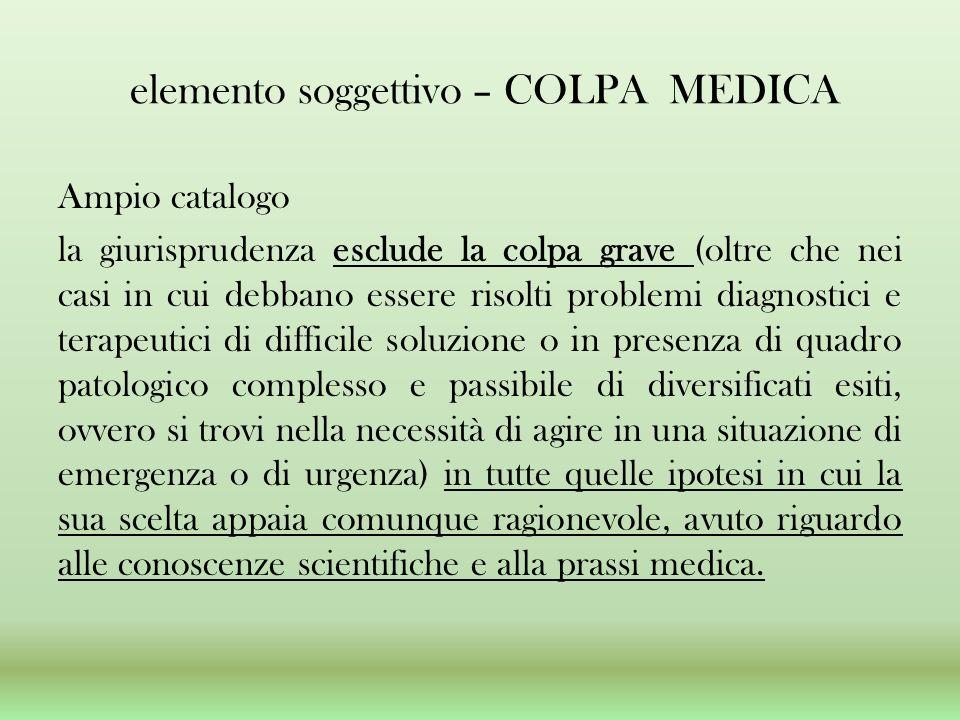 elemento soggettivo – COLPA MEDICA Ampio catalogo la giurisprudenza esclude la colpa grave (oltre che nei casi in cui debbano essere risolti problemi