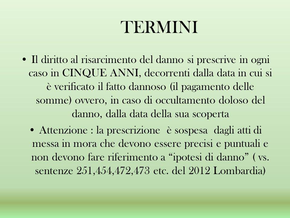 TERMINI Il diritto al risarcimento del danno si prescrive in ogni caso in CINQUE ANNI, decorrenti dalla data in cui si è verificato il fatto dannoso (