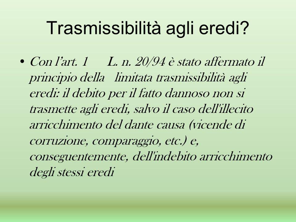 Trasmissibilità agli eredi? Con lart. 1 L. n. 20/94 è stato affermato il principio della limitata trasmissibilità agli eredi: il debito per il fatto d