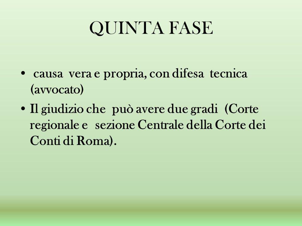 QUINTA FASE causa vera e propria, con difesa tecnica (avvocato) Il giudizio che può avere due gradi (Corte regionale e sezione Centrale della Corte dei Conti di Roma).