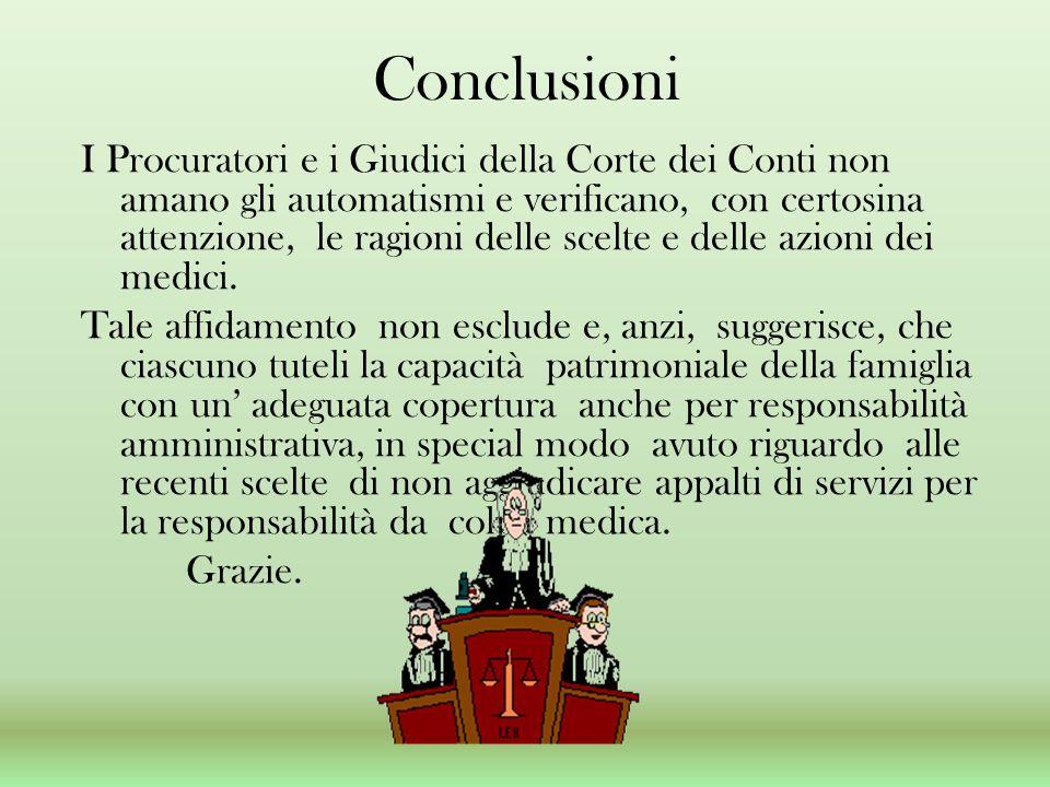 Conclusioni I Procuratori e i Giudici della Corte dei Conti non amano gli automatismi e verificano, con certosina attenzione, le ragioni delle scelte
