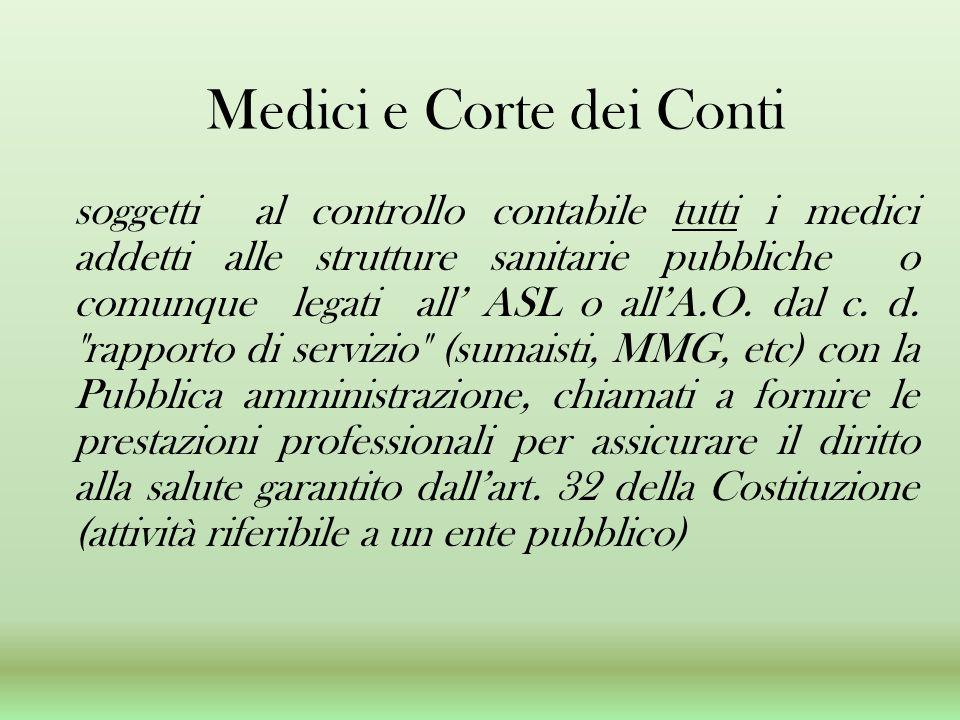 Medici e Corte dei Conti soggetti al controllo contabile tutti i medici addetti alle strutture sanitarie pubbliche o comunque legati all ASL o allA.O.