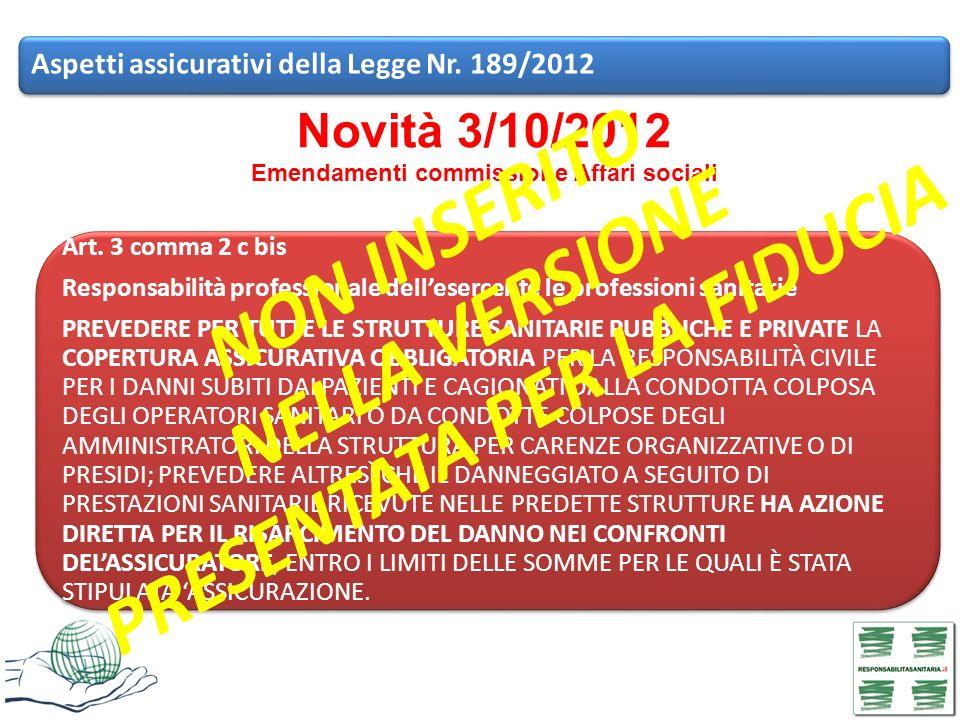 Novità 3/10/2012 Emendamenti commissione Affari sociali Aspetti assicurativi della Legge Nr. 189/2012 Art. 3 comma 2 c bis Responsabilità professional