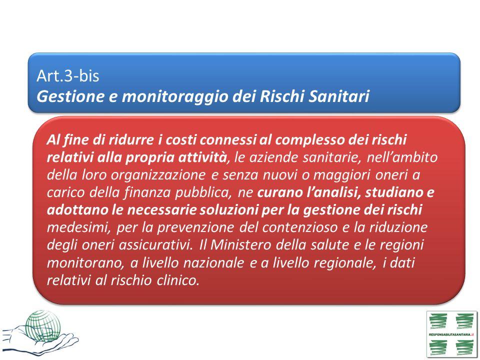 Art.3-bis Gestione e monitoraggio dei Rischi Sanitari Al fine di ridurre i costi connessi al complesso dei rischi relativi alla propria attività, le a