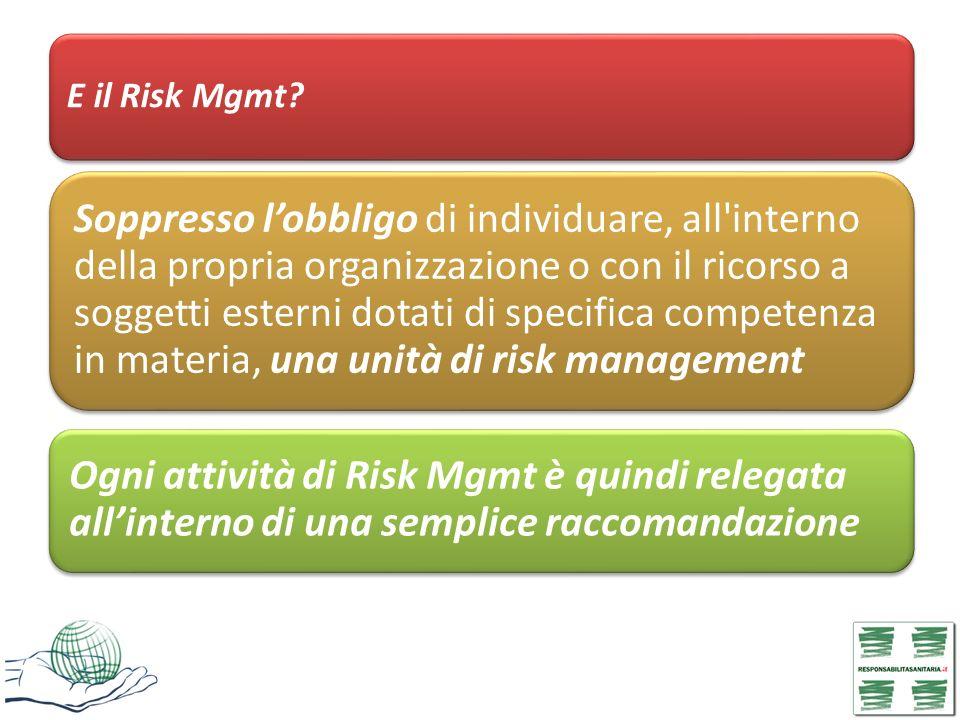 E il Risk Mgmt? Soppresso lobbligo di individuare, all'interno della propria organizzazione o con il ricorso a soggetti esterni dotati di specifica co
