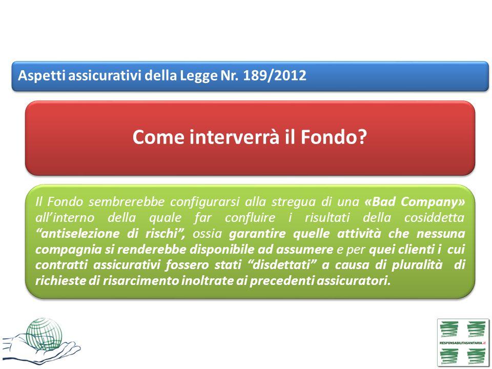 Aspetti assicurativi della Legge Nr. 189/2012 Come interverrà il Fondo? Il Fondo sembrerebbe configurarsi alla stregua di una «Bad Company» allinterno