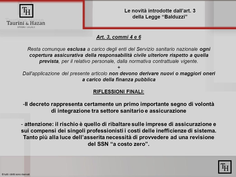 Le novità introdotte dallart. 3 della Legge Balduzzi Art.