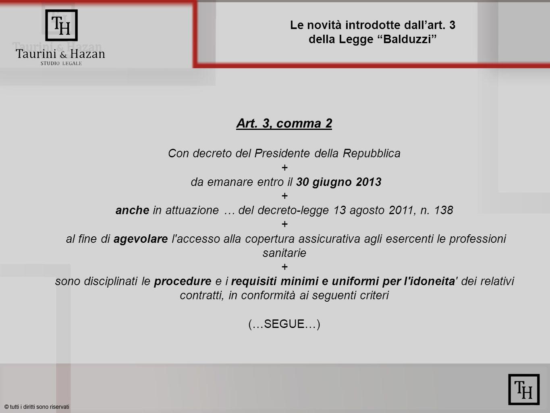 Le novità introdotte dallart.3 della Legge Balduzzi Art.