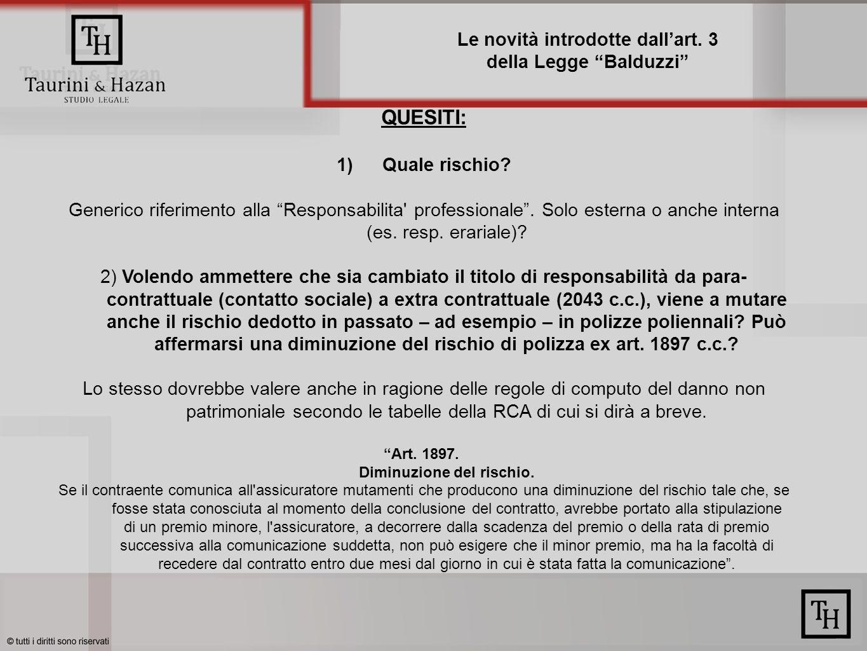 Le novità introdotte dallart. 3 della Legge Balduzzi QUESITI: 1)Quale rischio.